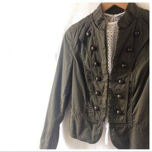 Zara Basic Army Green Cotton Military Jacket